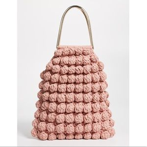 Ulla Johnson Barranco Crochet Knit Pom Tote Bag